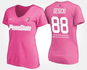 Name and Number #88 With Message Ladies Mike Gesicki Penn State T-Shirt Pink