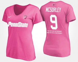 Name and Number With Message Ladies #9 Trace McSorley PSU T-Shirt Pink