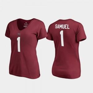 Women's #1 V Neck Name & Number Garnet College Legends Deebo Samuel South Carolina T-Shirt