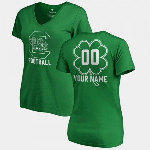 South Carolina Gamecocks Custom T-Shirts Kelly Green #00 Women's St. Patrick's Day V Neck Dubliner Fanatics