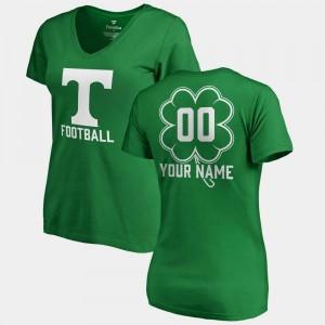 Tennessee Customized T-Shirt V Neck Dubliner Fanatics #00 St. Patrick's Day Ladies Kelly Green