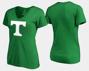 Tennessee Volunteers T-Shirt For Women St. Patrick's Day Kelly Green White Logo Fanatics Branded