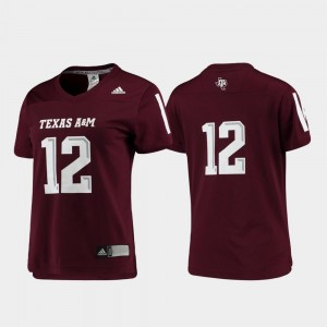 Texas A&M Jersey Maroon Women Replica Football #12