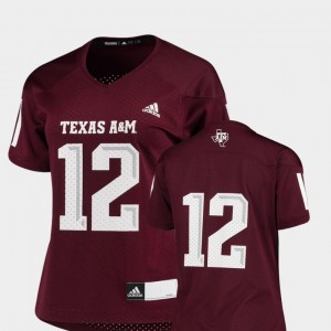 Texas A&M University Jersey For Women's Maroon Replica Adidas #12 College Football
