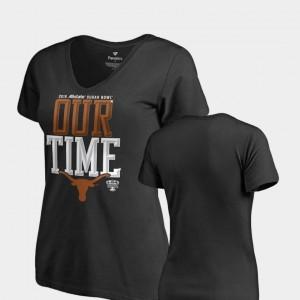 For Women Texas Longhorns T-Shirt Counter V Neck Fanatics Branded 2019 Sugar Bowl Bound Black