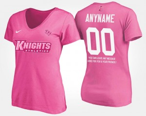T shirt With Message Pink Name and Number Women Knights Customized T-Shirt #00