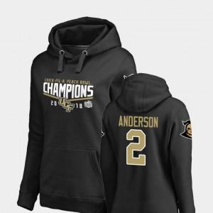 2018 Peach Bowl Champions #2 Otis Anderson UCF Knights Hoodie Fanatics Branded Goal Black Womens