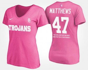 With Message Clay Matthews USC T-Shirt Pink #47 Name and Number Ladies