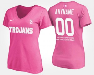 #00 Womens T shirt With Message Name and Number USC Customized T-Shirt Pink