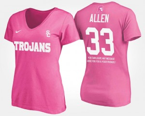 With Message Pink Womens Marcus Allen USC T-Shirt #33 Name and Number