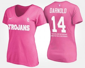 Women's Name and Number Sam Darnold Trojans T-Shirt With Message Pink #14