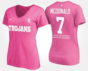 T.J. McDonald Trojans T-Shirt For Women's #7 With Message Name and Number Pink