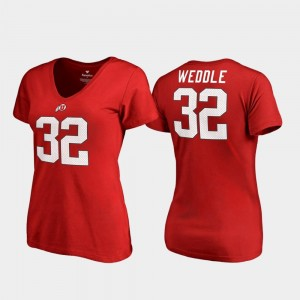 Womens #32 Red College Legends V Neck Eric Weddle Utes T-Shirt