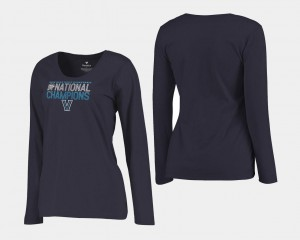 2018 Dribble Long Sleeve Women Basketball National Champions Villanova Wildcats T-Shirt Navy
