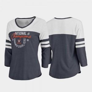 Cavaliers T-Shirt 2019 NCAA Men's Basketball National Champions Jump Raglan V Neck Navy 2019 Men's Basketball Champions Ladies