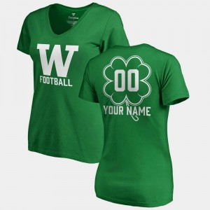 Kelly Green #00 St. Patrick's Day V Neck Dubliner Fanatics Washington Custom T-Shirt For Women