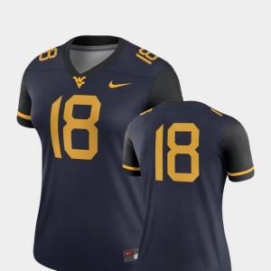 Women WVU Jersey #18 Navy Legend Nike College Football