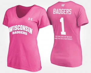 Pink For Women Name and Number No.1 Short Sleeve With Message #1 University of Wisconsin T-Shirt