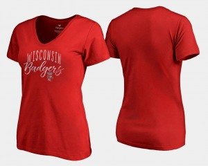 Womens Wisconsin Badgers T-Shirt V Neck Fanatics Branded Graceful Red