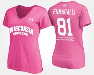Name and Number Women Troy Fumagalli Wisconsin Badgers T-Shirt With Message Pink #81