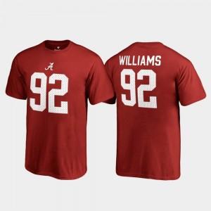 Quinnen Williams Bama T-Shirt College Legends #92 Fanatics Branded Name & Number For Kids Crimson