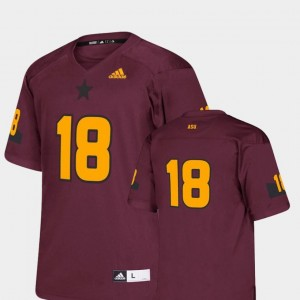 Kids #18 Replica Adidas Maroon Arizona State University Jersey College Football
