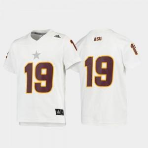 Kids Football Arizona State University Jersey White Replica #19