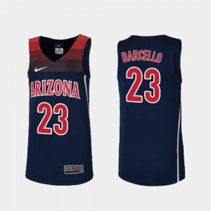 Replica College Basketball Alex Barcello Arizona Wildcats Jersey #23 Navy For Kids