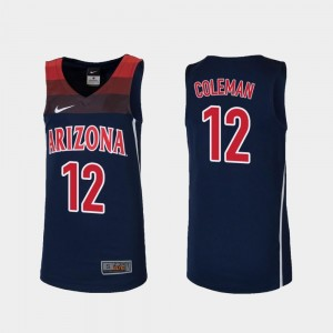 College Basketball #12 Justin Coleman Wildcats Jersey Replica For Kids Navy