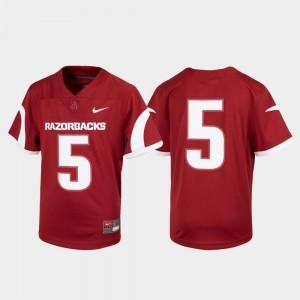 Football #5 Youth Cardinal Untouchable Arkansas Jersey