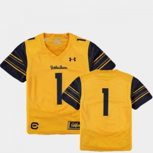Finished Replica Under Armour Gold Youth(Kids) #1 Cal Jersey College Football