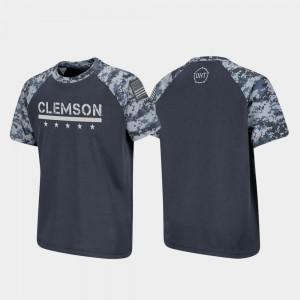 Clemson T-Shirt OHT Military Appreciation Raglan Digital Camo Charcoal For Kids