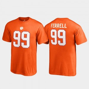 Youth #99 College Legends Clelin Ferrell Clemson Tigers T-Shirt Orange Fanatics Branded Name & Number