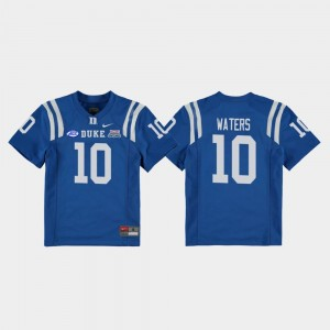 2018 Independence Bowl Marquis Waters Duke Jersey Royal #10 College Football Game Youth(Kids)