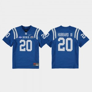 Marvin Hubbard III Duke Jersey College Football Game 2018 Independence Bowl #20 Youth Royal
