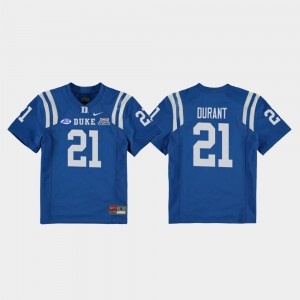 Royal Mataeo Durant Duke Jersey College Football Game 2018 Independence Bowl Kids #21