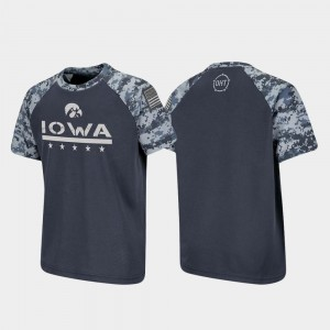 Charcoal OHT Military Appreciation Iowa Hawkeyes T-Shirt Raglan Digital Camo Kids