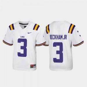 Odell Beckham Jr. LSU Jersey Alumni Football Nike Replica White Youth(Kids) #3
