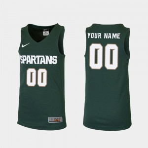 Replica Michigan State Spartans Customized Jerseys Youth #00 Green College Basketball
