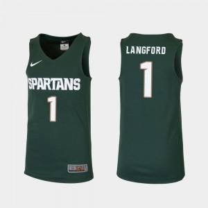 Replica #1 College Basketball Joshua Langford Michigan State Jersey Youth(Kids) Green