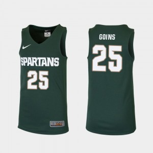 #25 College Basketball Kids Replica Green Kenny Goins Michigan State Jersey