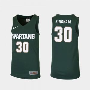 Kids #30 Replica Marcus Bingham Jr. MSU Jersey College Basketball Green