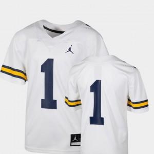 Michigan Wolverines Jersey Team Replica Jordan Brand Youth(Kids) #1 College Football White