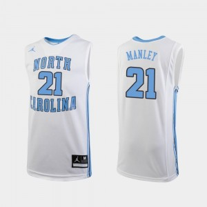 For Kids College Basketball White Replica Sterling Manley North Carolina Jersey #21