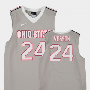 Andre Wesson Ohio State Buckeyes Jersey #24 College Basketball For Kids Replica Gray