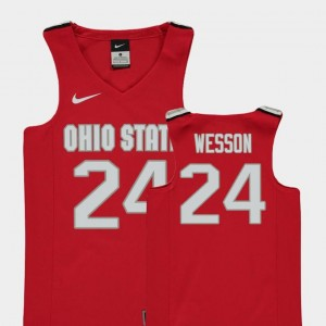 College Basketball #24 Replica Red Andre Wesson Ohio State Jersey Youth(Kids)