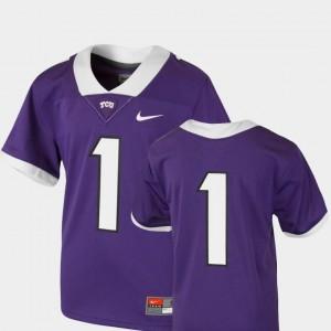 Purple TCU Horned Frogs Jersey College Football #1 Team Replica Nike For Kids