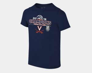 Basketball Conference Tournament Navy For Kids 2018 ACC Champions Locker Room Virginia T-Shirt