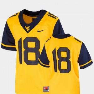 College Football Team Replica Nike Gold WVU Jersey #18 Youth(Kids)