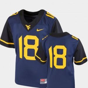 Kids College Football Navy West Virginia University Jersey Team Replica Nike #18